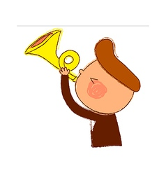 Side view of boy holding trumpet vector