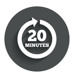Every 20 minutes sign icon full rotation arrow vector