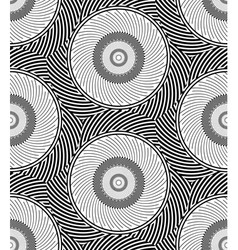 Striped circles geometric optical black and white vector