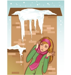 Young woman shows fear for icicles on the roof vector