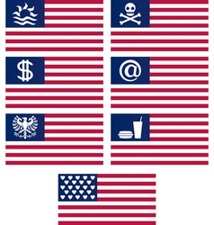 Set of fantasy american flags vector