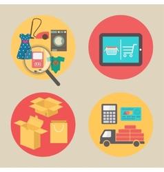 Internet shopping concept flat design icons vector