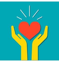 Heart in hands icon vector