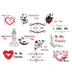 Valentines day design elements with calligraphic vector