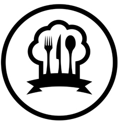 Food icon with chef hat and kitchen utensil vector