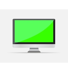 Realistic empty computer display with green screen vector