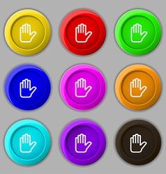 Hand print stop icon sign symbol on nine round vector