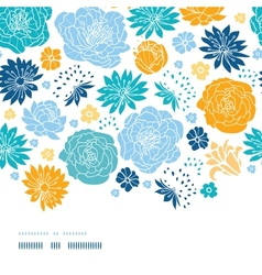 Blue and yellow flowersilhouettes horizontal decor vector