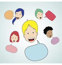 Teen talking with speak bubble vector