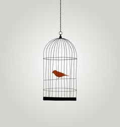 Bird in cage - freedom concept vector