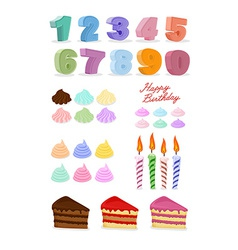 Happy birthday set cake candles figures vector
