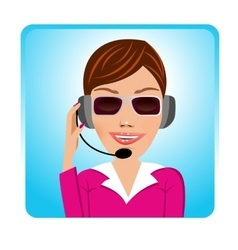 Customer support operator with glasses vector