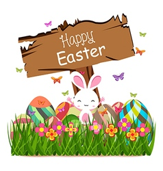 Happy easter spring concept with sign post vector
