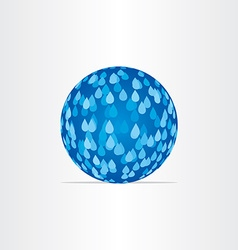 Blue abstract globe with rain drops vector