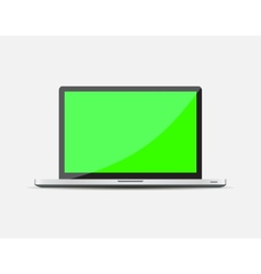 Realistic open laptop with green blank screen vector