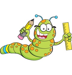 Cartoon inch worm holding a pencil and ruler vector