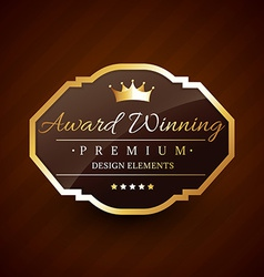 Golden award winning premium beautiful label vector