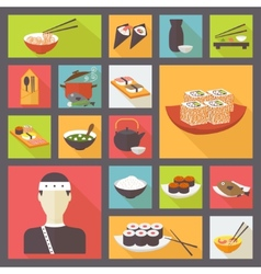 Japanese cuisine food icons set flat design vector