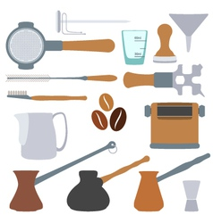 Solid colors coffee equipment set vector