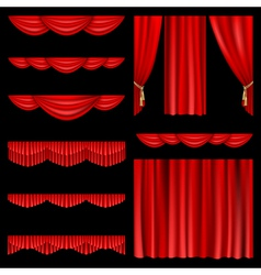 Set of red curtains to theater stage mesh vector