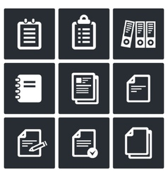 Notepad paper documents icons set vector