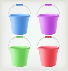 Colored buckets vector