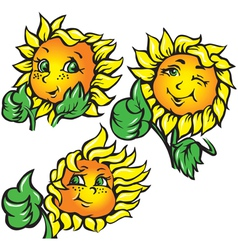Funny sunflower shows ok vector
