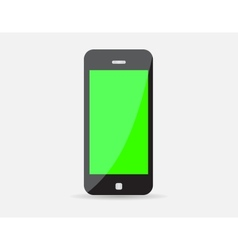 Realistic black mobile phone with green screen vector
