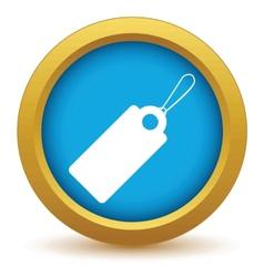 Gold price tag icon vector