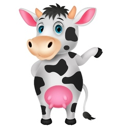 Cute cow cartoon waving hand vector