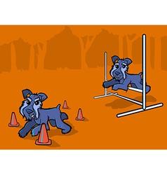 Dog agility training cartoon vector