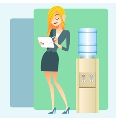 Girl office water cooler computer tablet vector