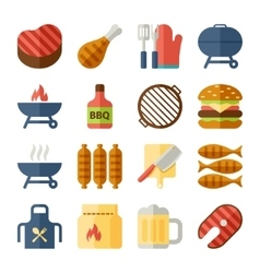 Grill and bbq flat icons vector