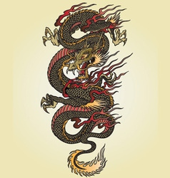 Full color asian dragon tattoo vector