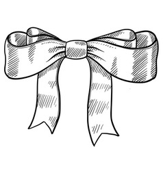 Doodle bow ribbon vector