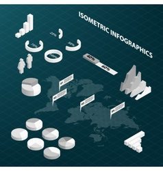 Abstract isometric business infographics vector