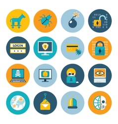 Hacker flat icons vector