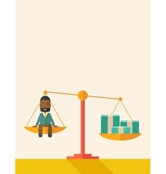 Afircan businessman on a balance scale vector