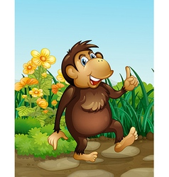 A monkey in the fields vector