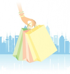 Downtown shopping vector