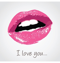 Pink lips with love message vector