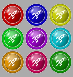 Rocket icon sign symbol on nine round colourful vector