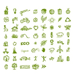 Green ecology icons vector