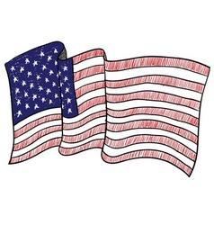 Doodle flag usa america vector