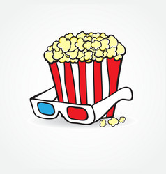 Popcorn and 3d glasses cinema concept background vector