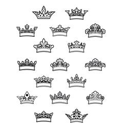 Ornated heraldic crowns set vector