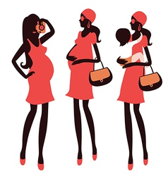 Fashionable pregnancy and maternity characters vector