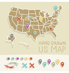 Retro handdrawn us map travel vector