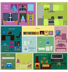 House remodeling infographic set interior elements vector
