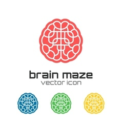 Set of brain maze icons vector